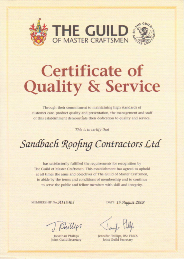 Certificate of Quality and Service